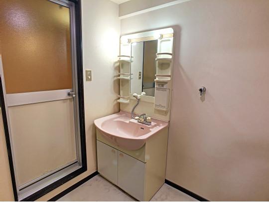 シャワーノズル付き洗面台です