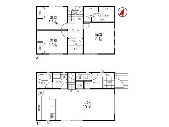 家族のプライベート空間を確保できる3SLDK