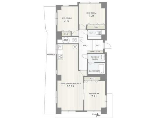 家族形態に合わせ7.7帖の洋室をリビングとして広々と活用することも◎