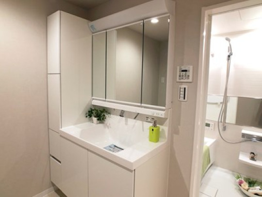 左側に収納のある洗面化粧台です。ものが溢れがちな洗面室もすっきり片付きます
