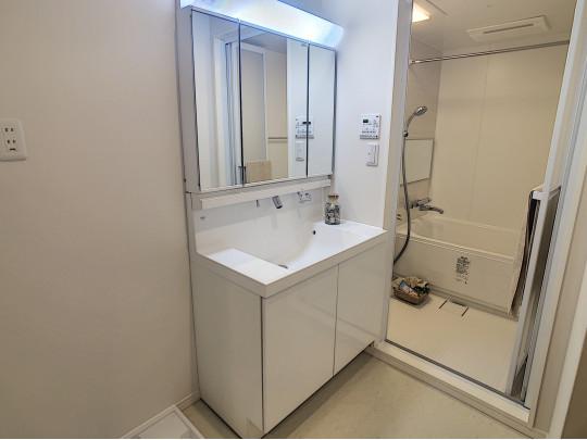 鏡面裏収納のある洗面台はお掃除も簡単です