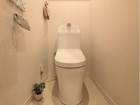 白で統一された清潔感あるトイレです