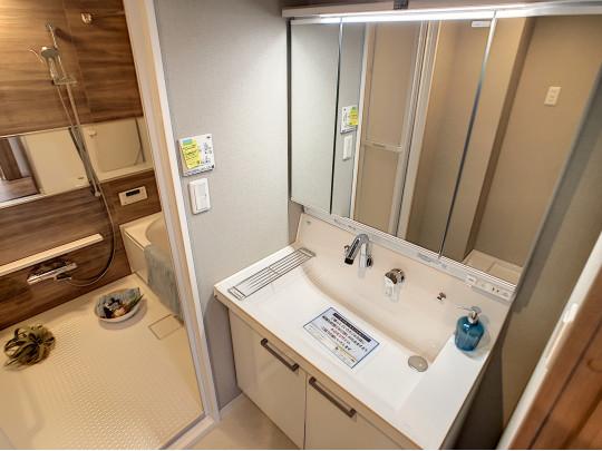 鏡面裏収納のある洗面台です。洗面ボウルが大きく、お掃除も簡単、ストレスフリーな空間です
