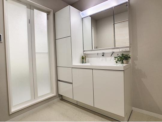 左側に大容量の収納、鏡面裏収納、お掃除のしやすい洗面ボウルのある使い勝手の良い洗面室です
