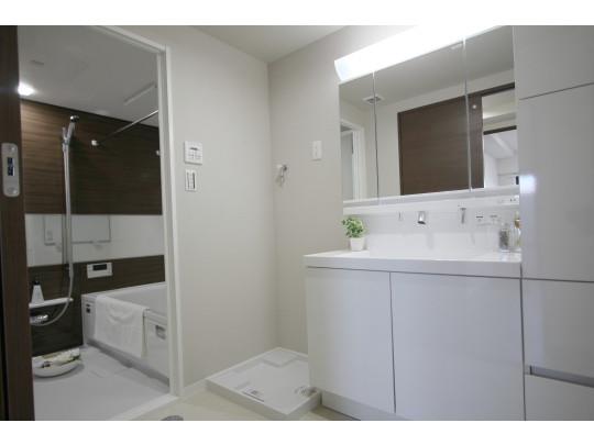 新品交換済みの洗面台や大容量の収納のある洗面室です