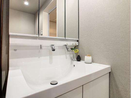 三面鏡、鏡面裏収納のある洗面台です。洗面ボウルが大きく、お掃除も簡単、ストレスフリーな空間です