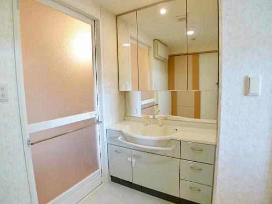お掃除のしやすい洗面ボウル、鏡面裏収納のある洗面室です