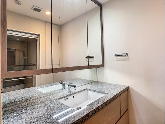 大きな三面鏡のついた洗面台はお掃除も楽々、収納力抜群