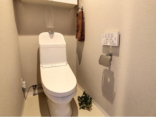 上部棚、カウンター、手すりのある充実のトイレです