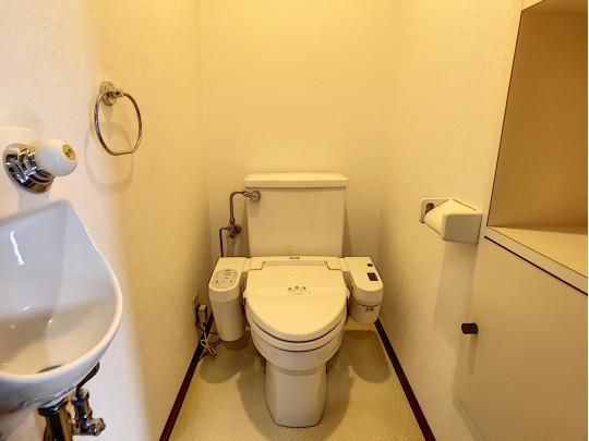 手洗い、タオルハンガーなど充実のトイレです