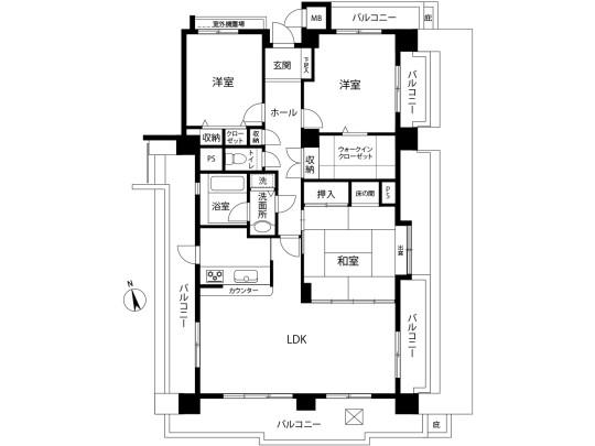 最上階の3LDK、4面バルコニーのお部屋。爽快な景色がみられます。