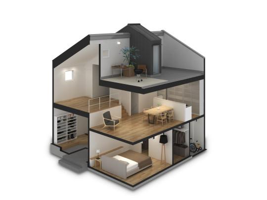 ※イメージ図 フロアの高さを半階ずつずらして交互に連続させる建築方法。