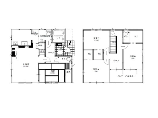4LDK、土地面積193.6m2、建物面積107.56m2