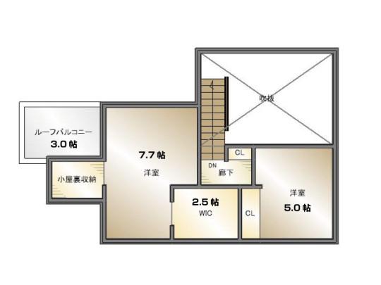 2階間取はプライベート場所としての役割を果たします。2階にも収納スペースが多く、収納のお悩みも解決です。