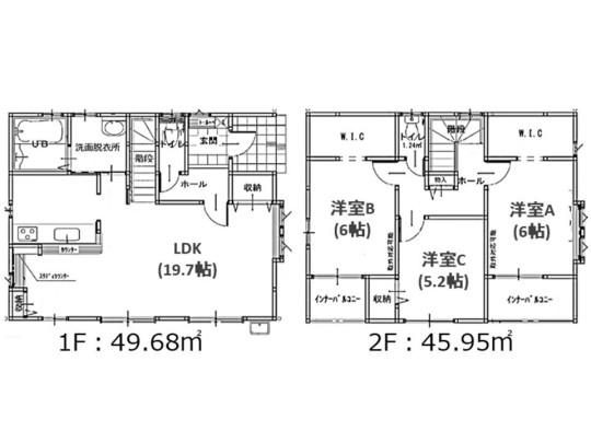 3LDK、土地面積124.83m2、建物面積95.63m2 LDK19.7帖/洋室6帖/洋室6帖/洋室5.2帖の3LDKです。 バルコニー、ウォークインクローゼットが2ヶ所!