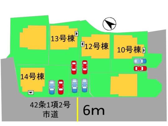 駐車場スペースは2台分有☆縦列駐車ですが、車の使用時間帯が違う家庭や、電車がメインで車が1台の家庭におすすめ♪ 玄関前に道路がないので、お子様の飛び出しの心配や、道路からの目線も気になりませんね☆
