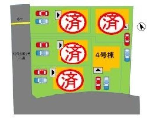 4号棟 お車は2台並列で駐車可能です。前面道路も車の出し入れしやすい広さです。
