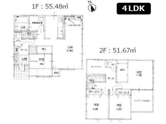 4LDK、土地面積166.08m2、建物面積107.15m2