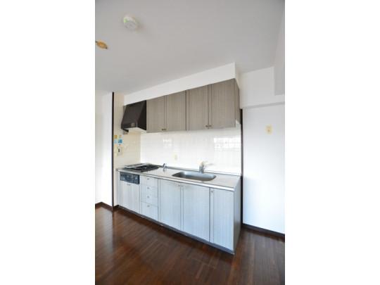 壁付けのシステムキッチンです。キッチンの後ろにダイニングテーブルを設置すれば、移動距離も少なく料理ができますよ。キッチンから洗面室が近いので、料理と洗濯を同時進行できる家事動線設計です。