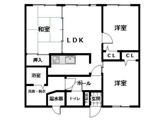 洗面室はキッチンとホールの両方から出入りできる2WAY設計。