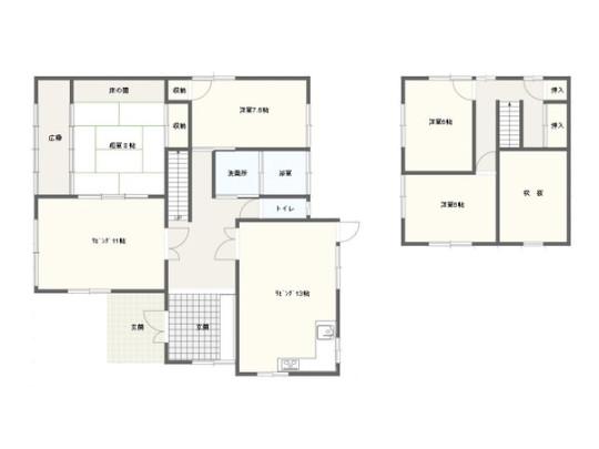 1階にリビング2部屋・洋室1部屋・和室1部屋、2階に洋室2部屋を配した間取りです。