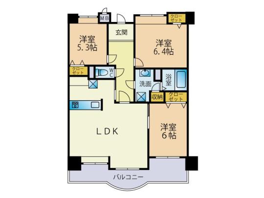 各居室収納付きなので、お部屋をスッキリお使いいただけます。